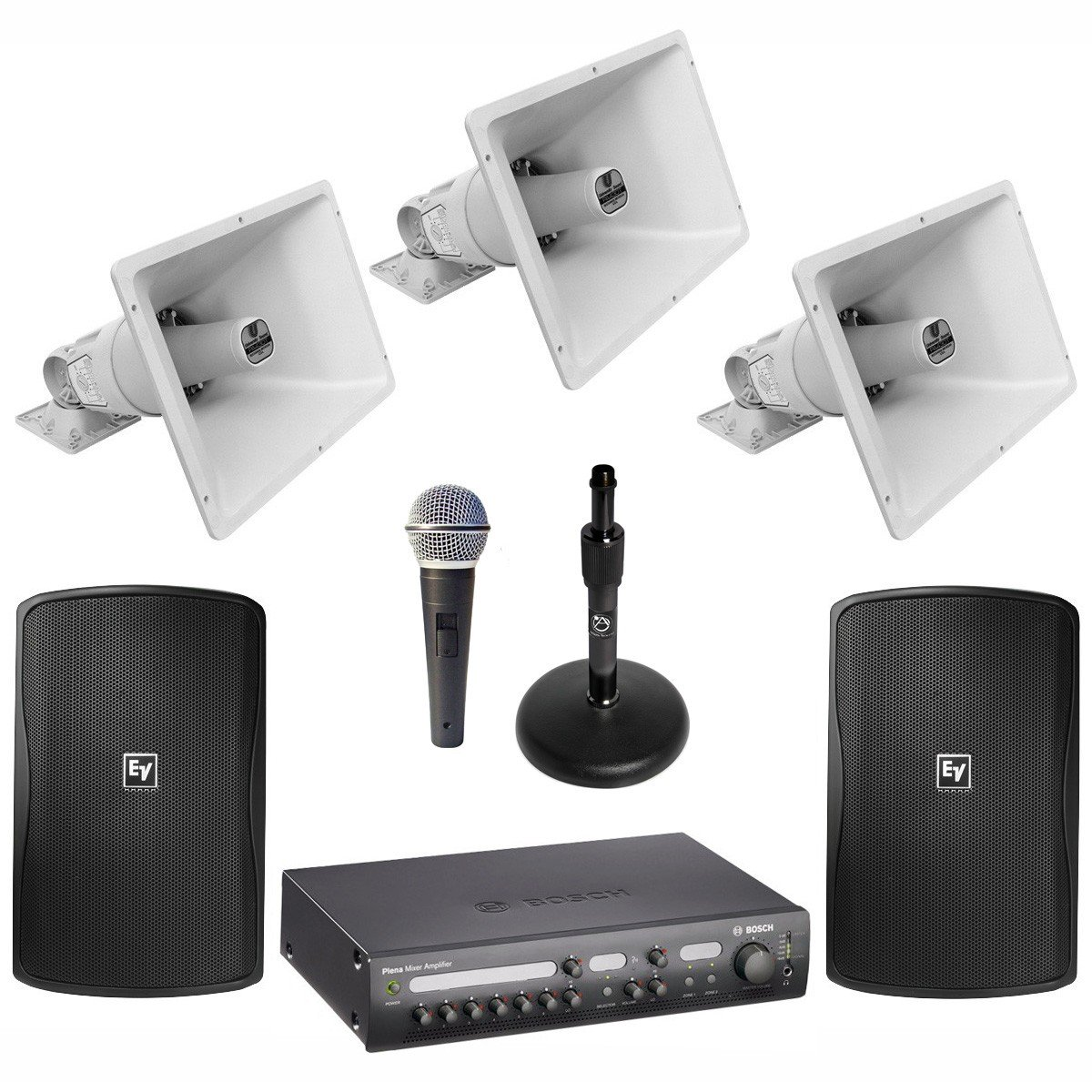 stadium sound system with 3 electro voice paging horns 2 loudspeakers and bosch plena mixer. Black Bedroom Furniture Sets. Home Design Ideas