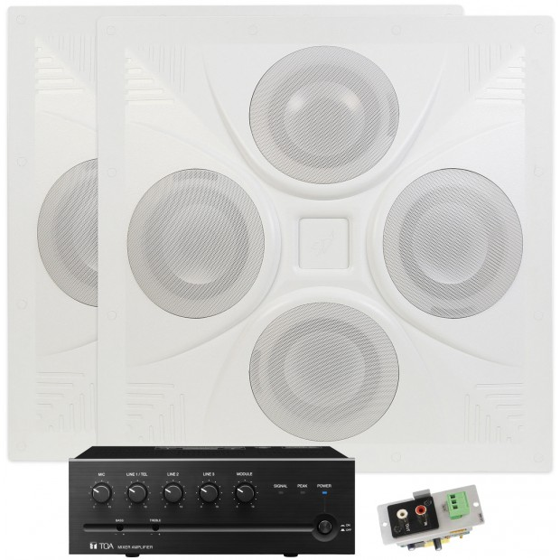 Office Sound Masking System with 2 SD4 Ceiling Speaker Arrays and TOA Mixer Amplifier