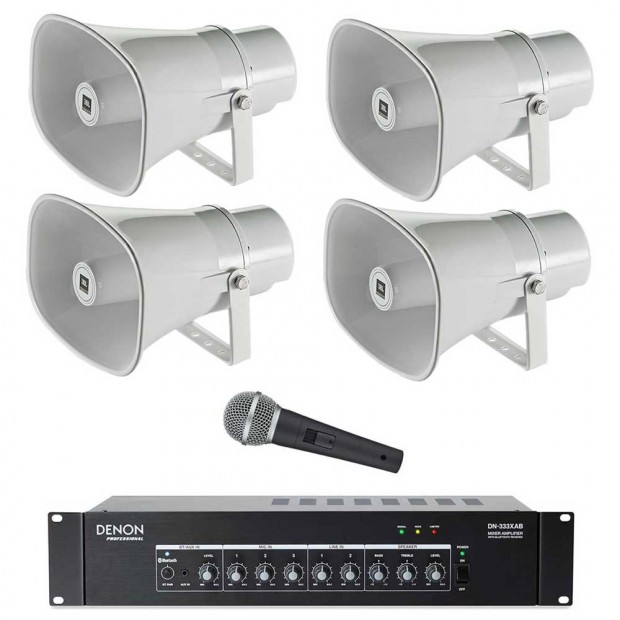 Public Address Sound System with 4 JBL CSS-H15 Paging Horns Denon Bluetooth Mixer Amplifier and FREE Microphone