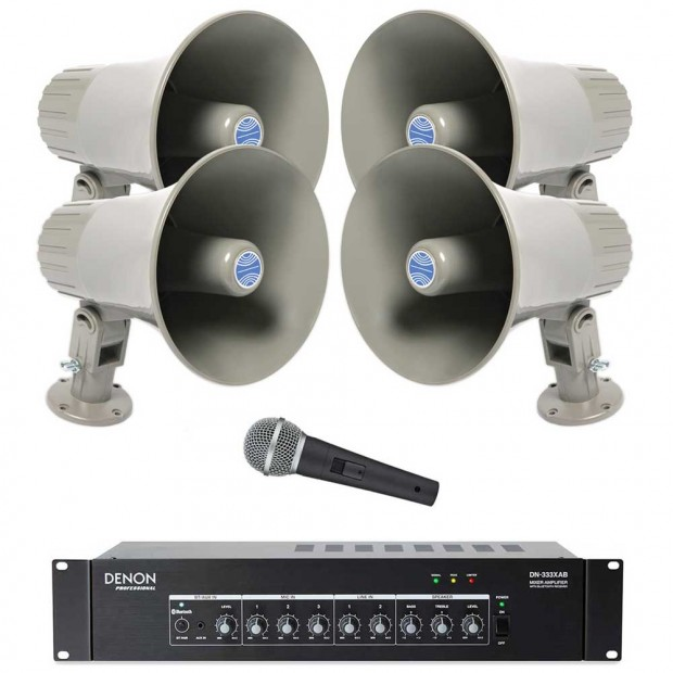 Public Address Sound System with 4 Atlas Sound GA-15T Horn Loudspeakers Denon Bluetooth Mixer Amplifier and FREE Microphone