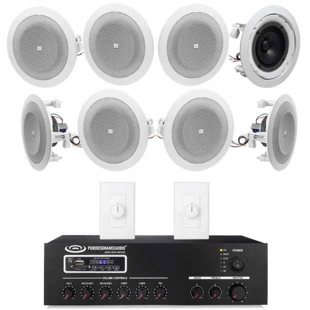 Background Music Sound System With 8 In Ceiling Speakers And Bluetooth Mixer Amplifier