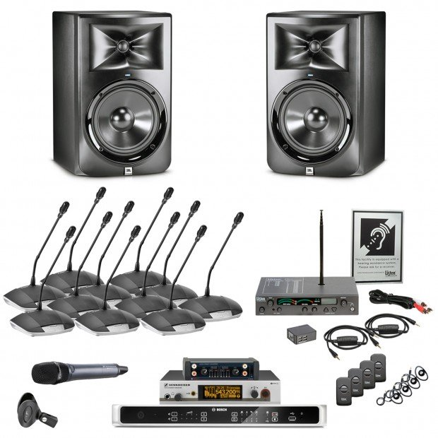 elite conference room sound system with jbl lsr308 speakers and bosch digital discussion system. Black Bedroom Furniture Sets. Home Design Ideas