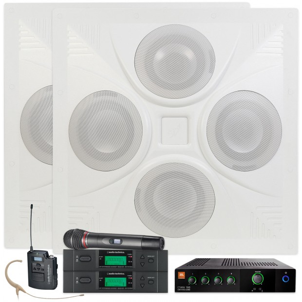 Conference Room Sound System with 2 Ceiling Speakers JBL Mixer Amplifier and 2 Audio-Technica Wireless Microphone Systems