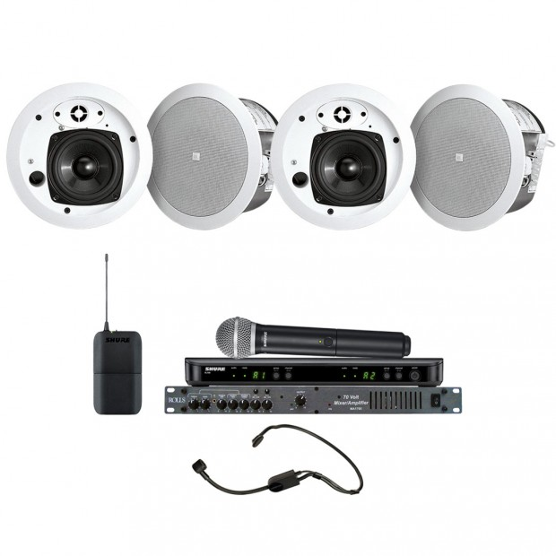 Conference Room Sound System with 4 JBL Control 24CT MicroPlus In-Ceiling Loudspeakers Rolls Mixer Amplifier and Shure Wireless System
