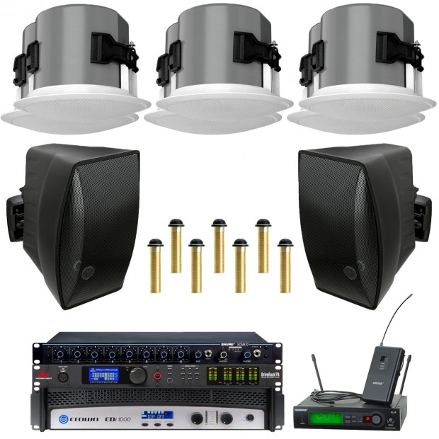 Conference Table Microphone Sound System with SoundTube Speakers Crown CDi 1000 Amplifier and 7 Shure MX395 Low Profile Boundary Microphones