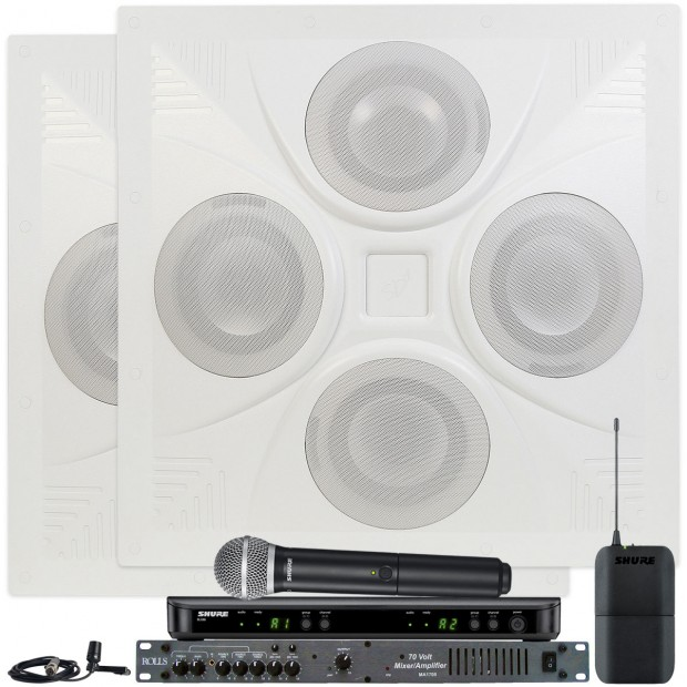 Conference Room Sound System with 2 Ceiling Speakers Rolls MA1705 Mixer Amplifier and Shure Wireless System