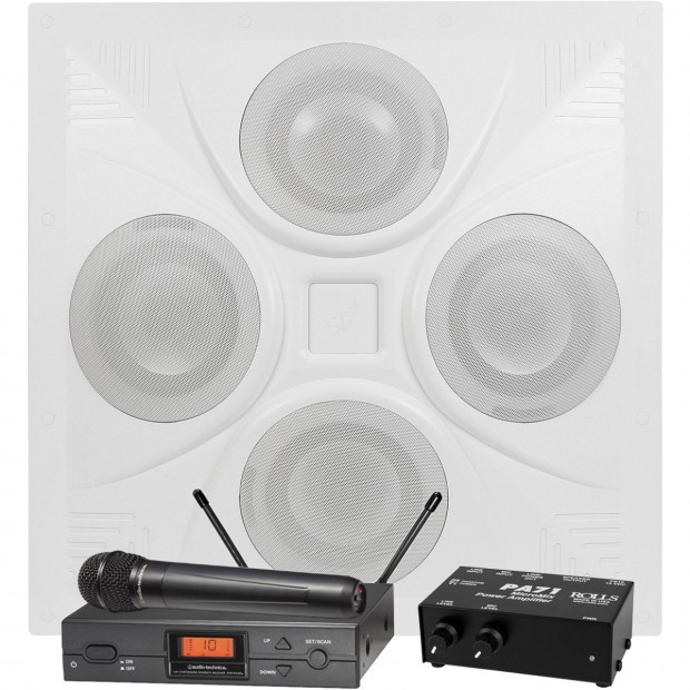 Conference Room Sound System With Sd4 Ceiling Speaker Rolls Micromix Power Amplifier And Audio Technica Wireless System