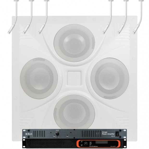 Conference Room Sound System with Ceiling Speaker Array and 6 Biamp Ceiling Hanging Microphones