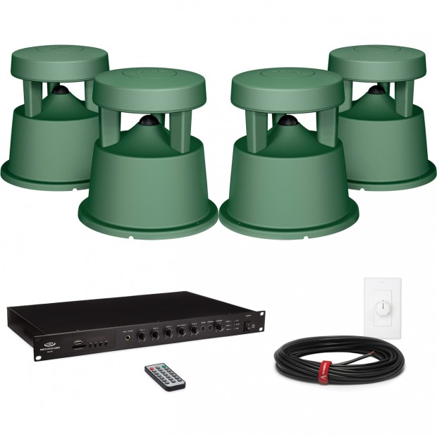 Church Outdoor Sound System With 4 Environmental Landscape Speakers And Bluetooth Mixer Amplifier
