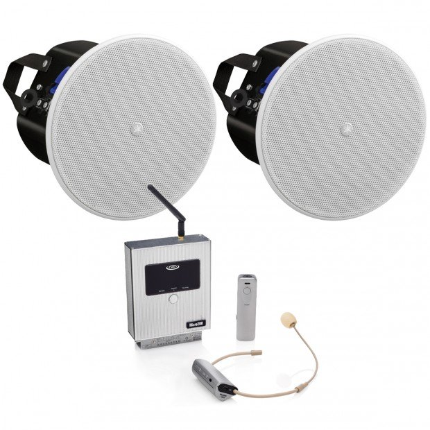 Classroom Sound System with 2 Yamaha VXC4 In-Ceiling Speakers and Micro20 Amplified 2.4G Digital Wireless Microphone System
