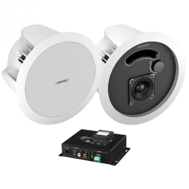 Wireless Bluetooth Hotel Room System with 2 In-Ceiling Speakers and Bluetooth Mixer Amplifier