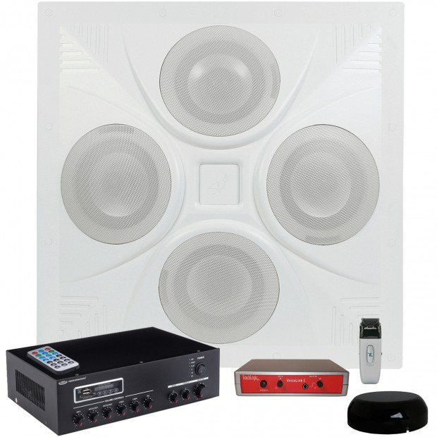 Classroom Sound System with a SD4 Ceiling Speaker Array MA30BT Bluetooth Amplifier and TeachLogic Voicelink I System