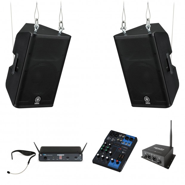 Fitness Affiliate Sound System with 2 Yamaha DXR15 Loudspeakers Bluetooth Receiver and Samson Airline 88 Headset