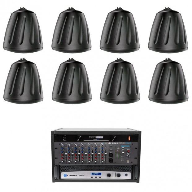 Fitness Affiliate Sound System with 8 Soundtube RS800i Speakers Alesis Bluetooth Mixer and Crown CDi Power Amplifier