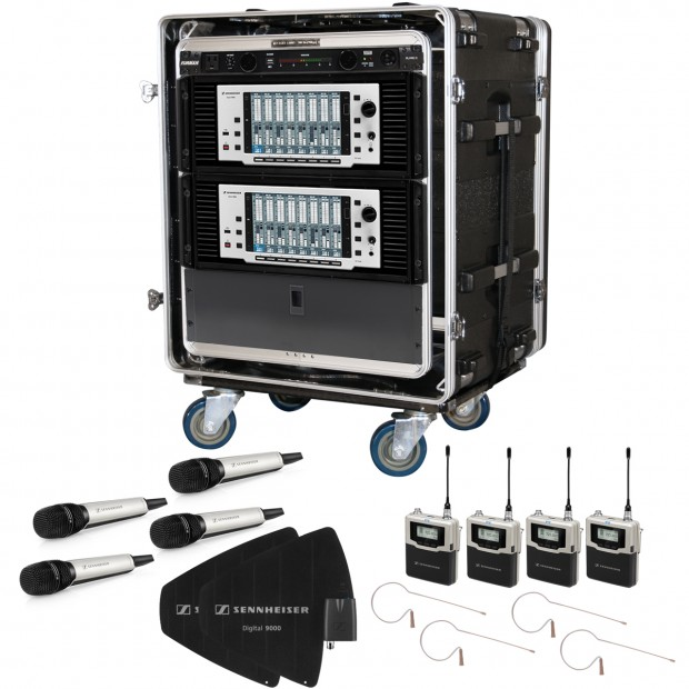 sennheiser high end multi channel wireless microphone rack system with 8 wireless microphones. Black Bedroom Furniture Sets. Home Design Ideas