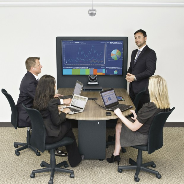 Huddle Room System with Biamp Devio CR-1C Conference Room DCM-1 Ceiling Microphone and Middle Atlantic HUB Meeting Table