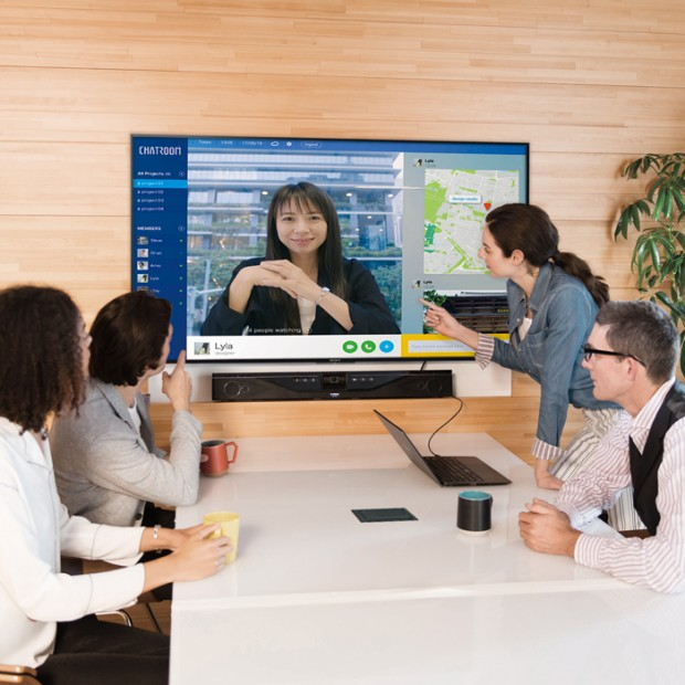 "Educational Collaboration System with Yamaha CS-700 System Sony 65"" BRAVIA Display and Middle Atlantic HUB Meeting Table"
