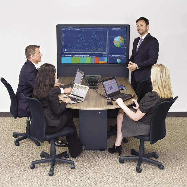 "Huddle Room System with Elmo HS-G2 Collaboration Hub Sony 65"" BRAVIA Display and Middle Atlantic HUB Meeting Table"