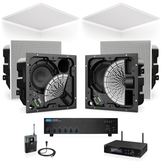Lecture Hall Sound System 6 Bose EdgeMax Premium In-Ceiling Loudspeakers with Atlas Sound Mixer Amplifier and Wireless Microphone