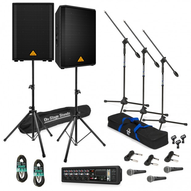 Live Sound System Package with 2 Behringer EUROLIVE VP1220 Speakers and EUROPOWER PMP550M Powered Mixer
