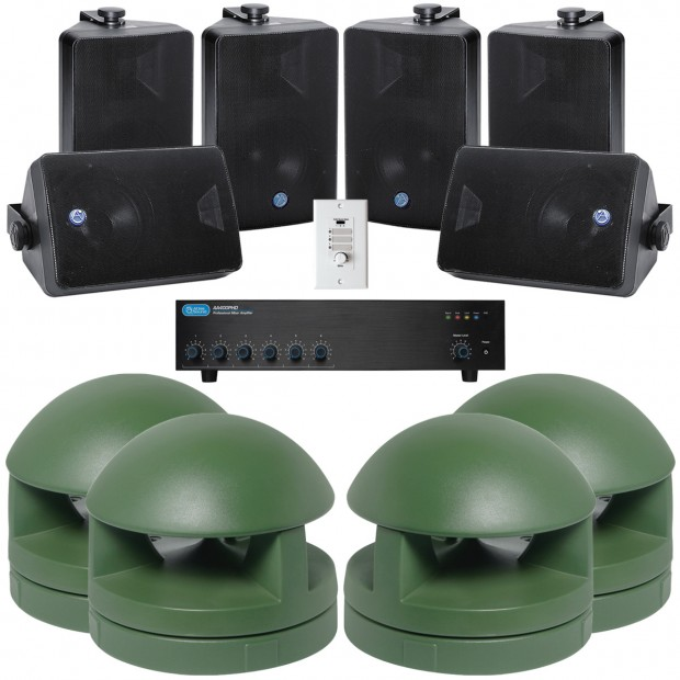 Outdoor Sound System with 8 Atlas Sound GSS-G and 6 SM52T Speakers