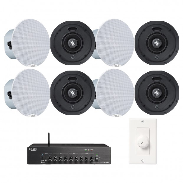 Office Sound System Wireless Bluetooth Music Streaming with 8 Denon DN-104S Ceiling Speakers and DN-333XAB Mixer Amplifier