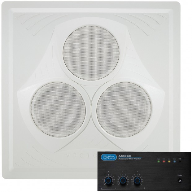 Retail Store Sound System with Vector Ceiling Speaker Atlas Sound AA30PHD Mixer Amplifier
