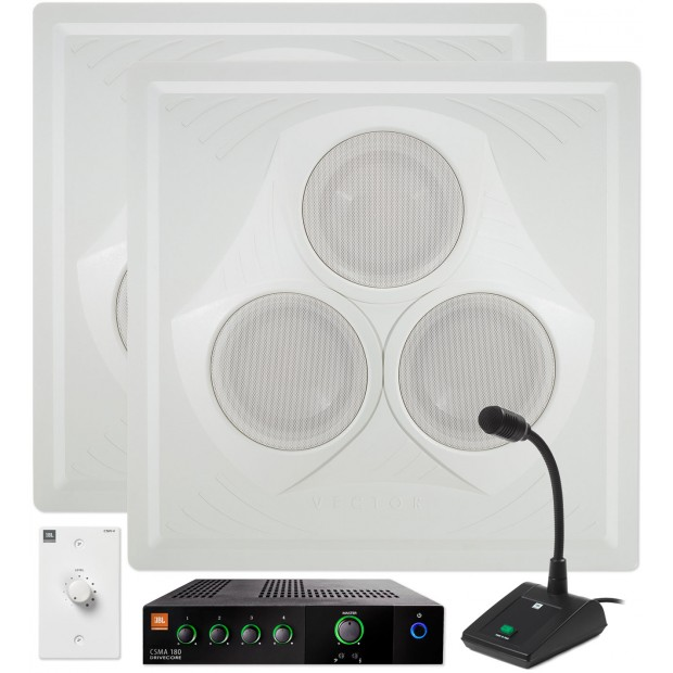 Restaurant Sound System with 2 Vector Ceiling Speakers JBL Mixer Amplifier and Paging Microphone