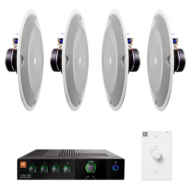 Restaurant Sound System with 4 JBL 8138 In-Ceiling Loudspeakers and Mixer Amplifier