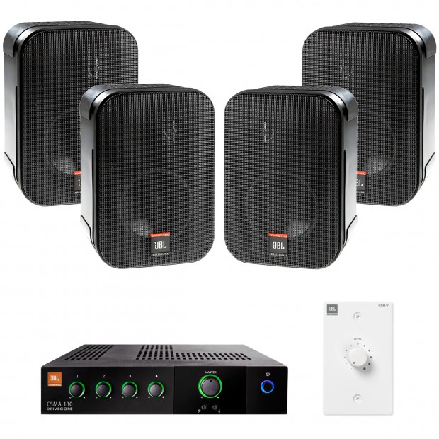 Restaurant Sound System with 4 JBL CSS-1S/T Wall Mount Loudspeakers and Mixer Amplifier