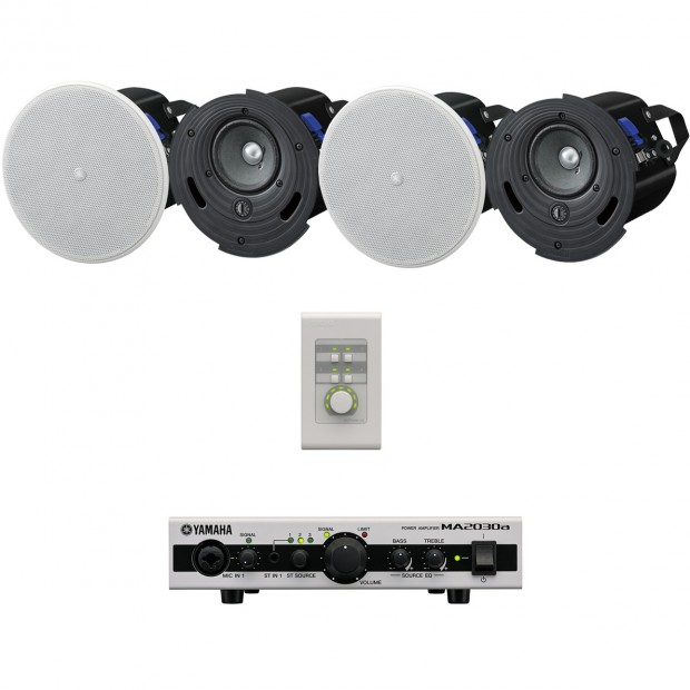 Yamaha Restaurant Sound System With 4 In Ceiling Speakers And Mixer Amplifier