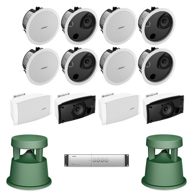 Bose Restaurant Sound System with 8 FreeSpace DS 40F In-Ceiling Loudspeakers and DXA2120 Mixer Amplifier