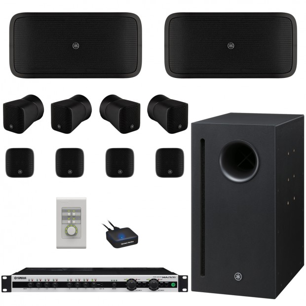 Restaurant Sound System with 8 Yamaha VXS1ML Compact Speakers, MA2120 2-Channel DSP Mixer Amplifier and Bluetooth Adapter