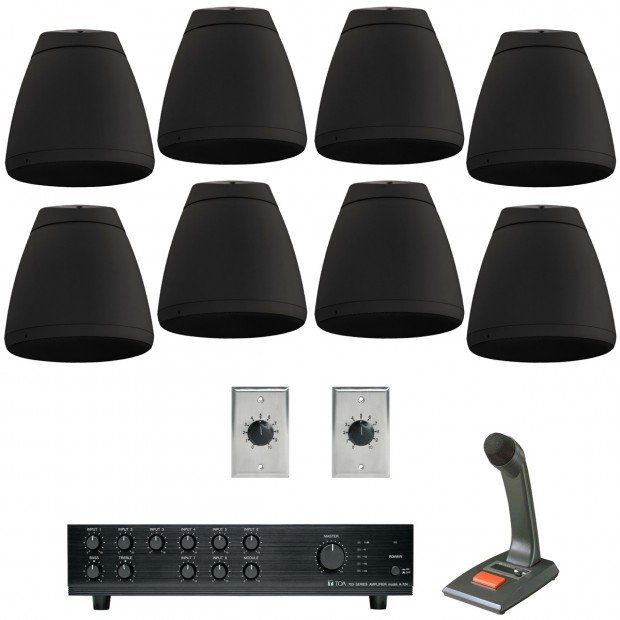 Open Ceiling Supermarket 2-Zone Sound System with 16 Indoor Outdoor Pendant Speakers and Push-to-Talk Paging Microphone