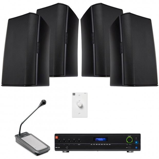Retail Sound System with 8 QSC AcousticDesign Wall Mount Speakers Bluetooth-Enabled Mixer Amplifier and Paging Microphone