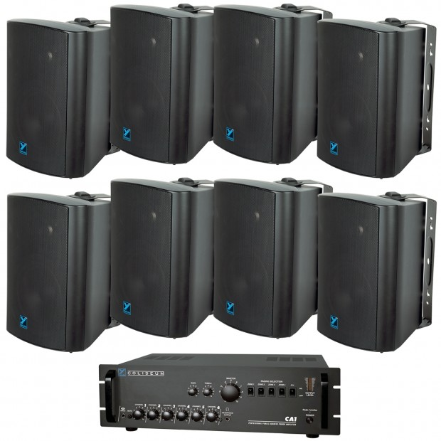 Hardware Store Indoor Outdoor Sound System with 8 Weather Resistant Yorkville Speakers and Power Amplifier