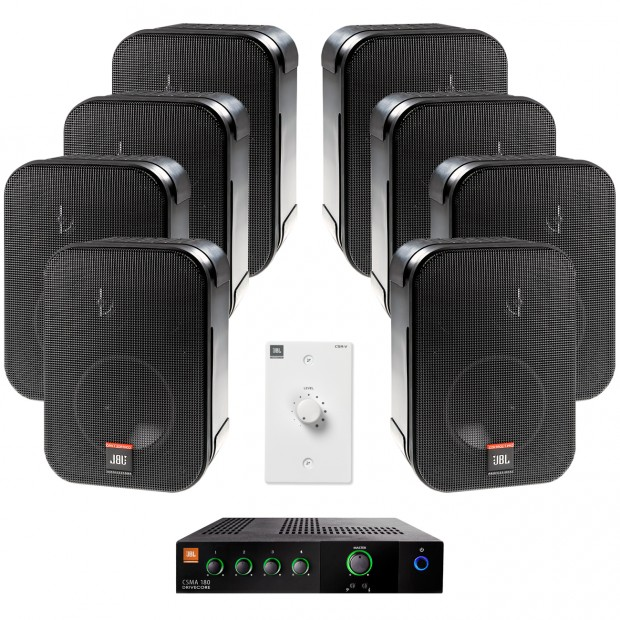 Retail Sound System with 8 JBL CSS-1S/T Surface Mount Speakers and JBL CSMA 180 Mixer Amplifier