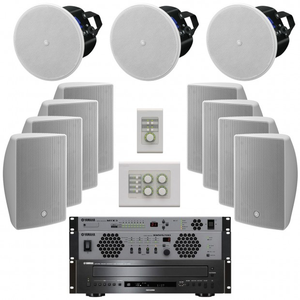 Yamaha MultiZone Retail Store Sound System with VX Series Speakers MTX3 Matrix Processor XMV4280 Power Amplifier and CD-C600 CD Player