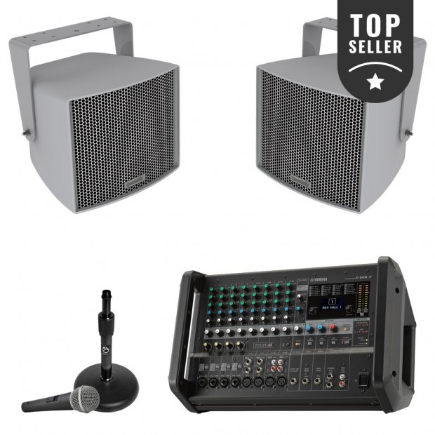 Baseball Field Sound System with 2 Community All-Weather Stadium Speakers and Yamaha EMX7 Portable Powered Mixer