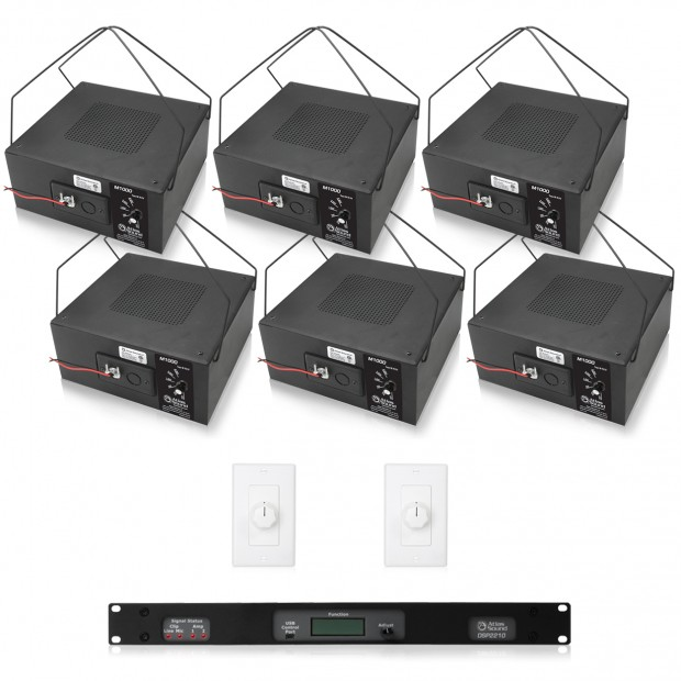 Office Sound Masking System with 12 Atlas Sound M1000 Speakers DSP2210 Processor and Amplifer