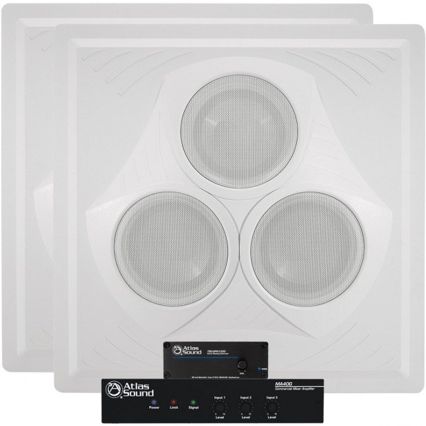 Office Sound Masking System with 2 Pure Resonance Audio VCA8 Vector Ceiling Speakers