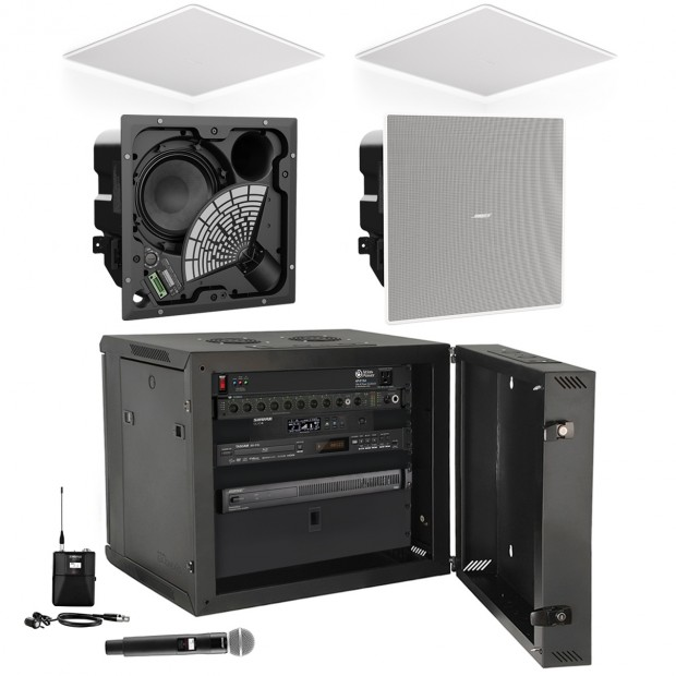 Audio Video Flex Presentation Sound System with 4 Bose EdgeMax EM90 Premium In-Ceiling Loudspeakers and Shure Combo Wireless Microphone System