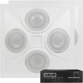 Retail Store and Restaurant Sound System with 2 Ceiling Speaker Arrays and MA30BT Bluetooth Mixer Amplifier