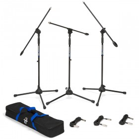 Samson BL3VP 3-Pack Boom Microphone Stands and Cables with Carrying Bag