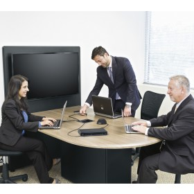 Huddle Room System with Biamp Devio CR-1T Conference Room DTM-1 Tabletop Microphone and Middle Atlantic HUB Meeting Table