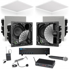Conference Room Sound System with 6 Bose EdgeMax Premium In-Ceiling Loudspeakers with Wireless Microphone System
