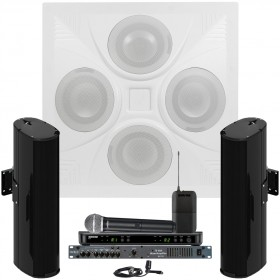 Conference Room Sound System with a Ceiling Speaker Array 2 Community Line Array Speakers Rolls MA1705 Mixer Amplifier and Shure Wireless System