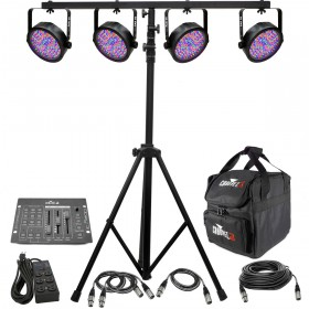 CHAUVET DJ Lighting System with 4 SlimPAR 56 PAR Cans and Obey 3 Controller and Stand