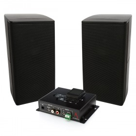 Wireless Bluetooth Classroom Sound System with UniSat 2.5 inch Mini Cube Satellite Speakers and Bluetooth Mixer Amplifier