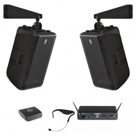 Fitness Affiliate Sound System with 2 Yamaha DBR12 Loudspeakers Bluetooth Receiver and Samson Airline 88 Headset